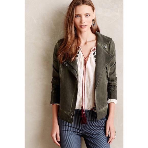 e92fa3874 Anthropologie Jackets & Coats | Marrakech Green Meri Moto Jacket ...